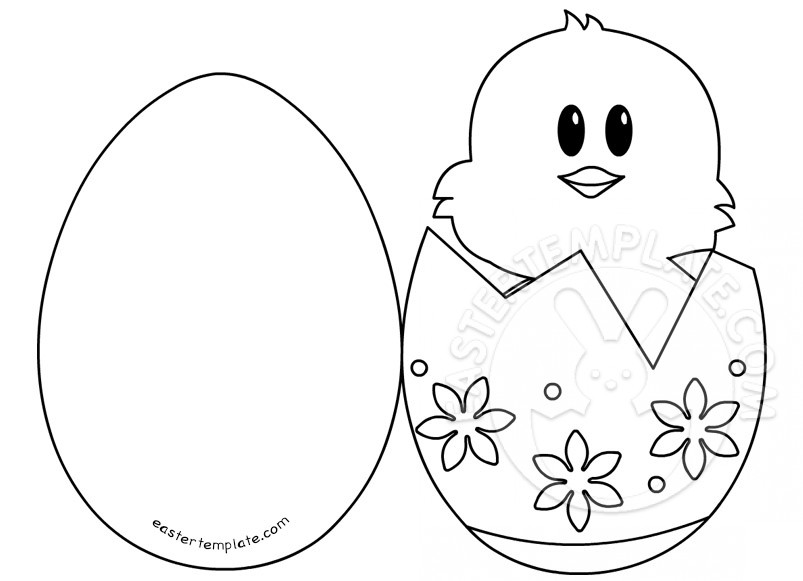 small easter egg template - easter ideas chick in egg card easter template
