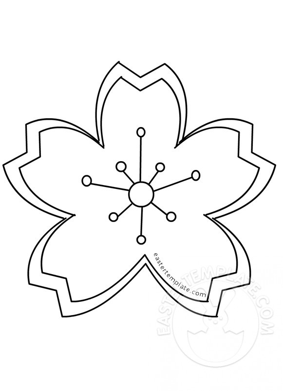 Cherry blossom coloring page Easter Template