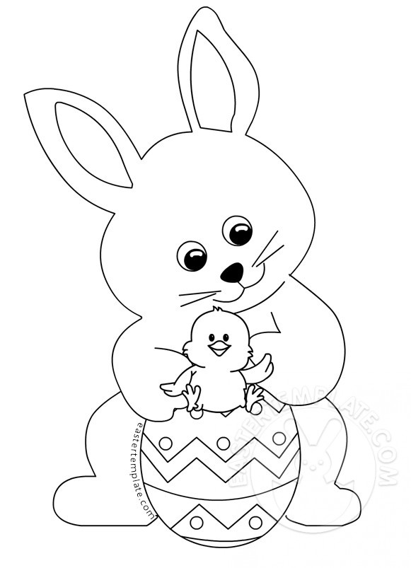 Easter Bunny With Little Chick coloring page