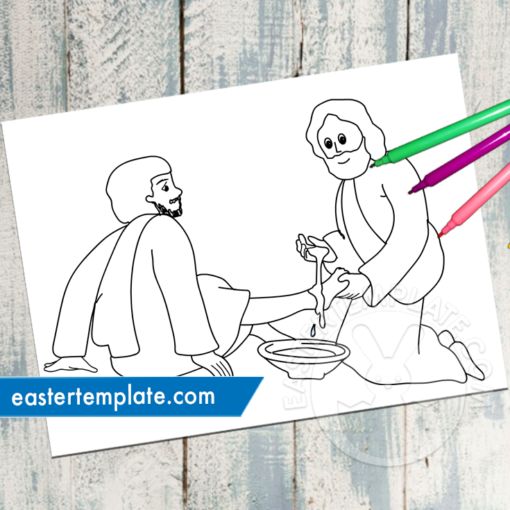 Jesus Washes Disciples Feet Coloring Page | 735x735