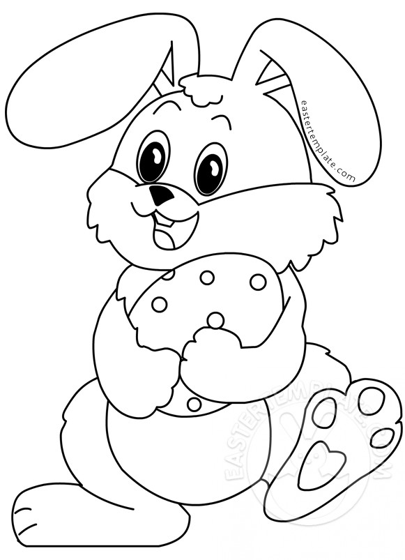 Happy Rabbit and Easter Egg coloring page | Easter Template